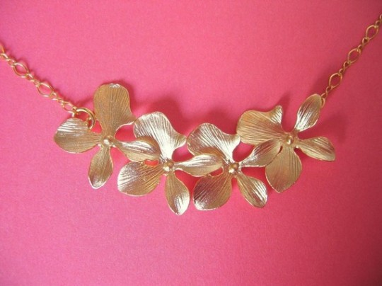 Dainty Floral Summer Gold Necklace