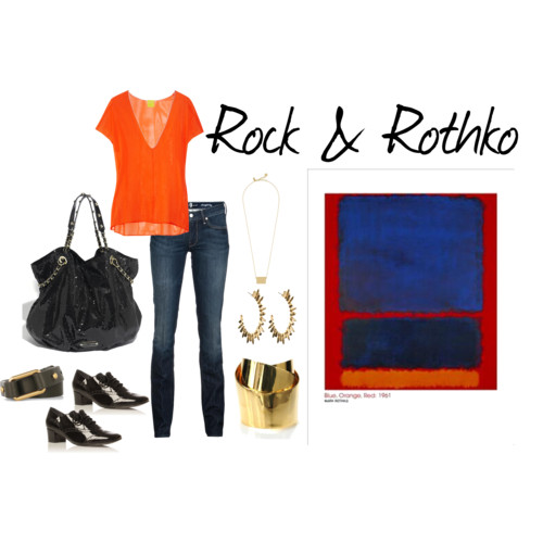 orange blue mark rothko outfit inspiration