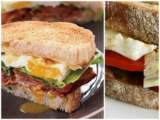 Bacon lettuce tomato cheese fried egg sandwich