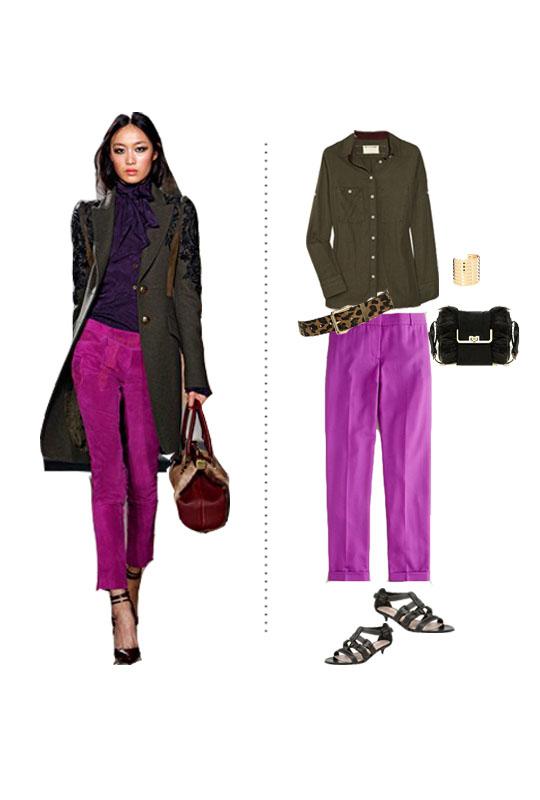 j crew cafe wool pants rag and bone army green button down shirt leopard belt