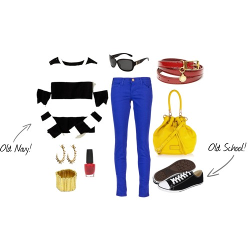 outfit spring rugby stripes royal blue denim