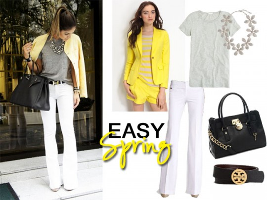 yellow blazer white pants grey t-shirt