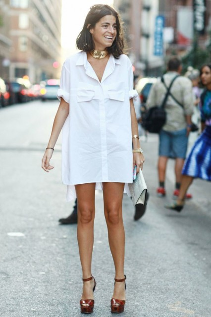 white shirtdress